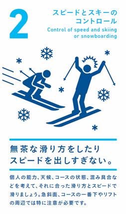 スピードとスキーのコントロール 無茶な滑り方をしたりスピードを出しすぎない。